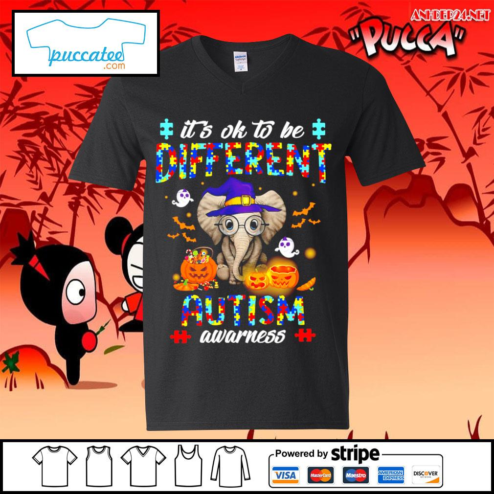 Halloween Elephant it's ok to be different autism awarness s v-neck-t-shirt.jpg
