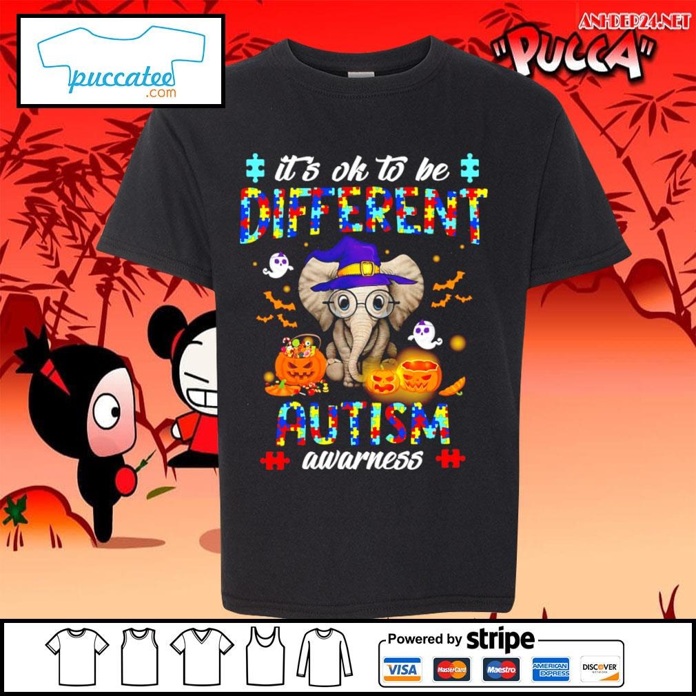 Halloween Elephant it's ok to be different autism awarness s youth-tee.jpg