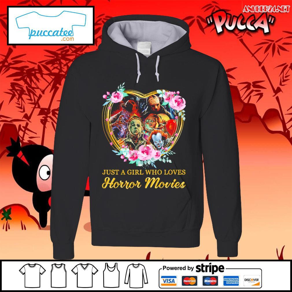 Halloween just a girl who loves horror movies flowers heart s hoodie.jpg