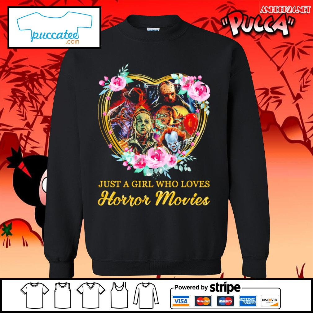 Halloween just a girl who loves horror movies flowers heart s sweater.jpg