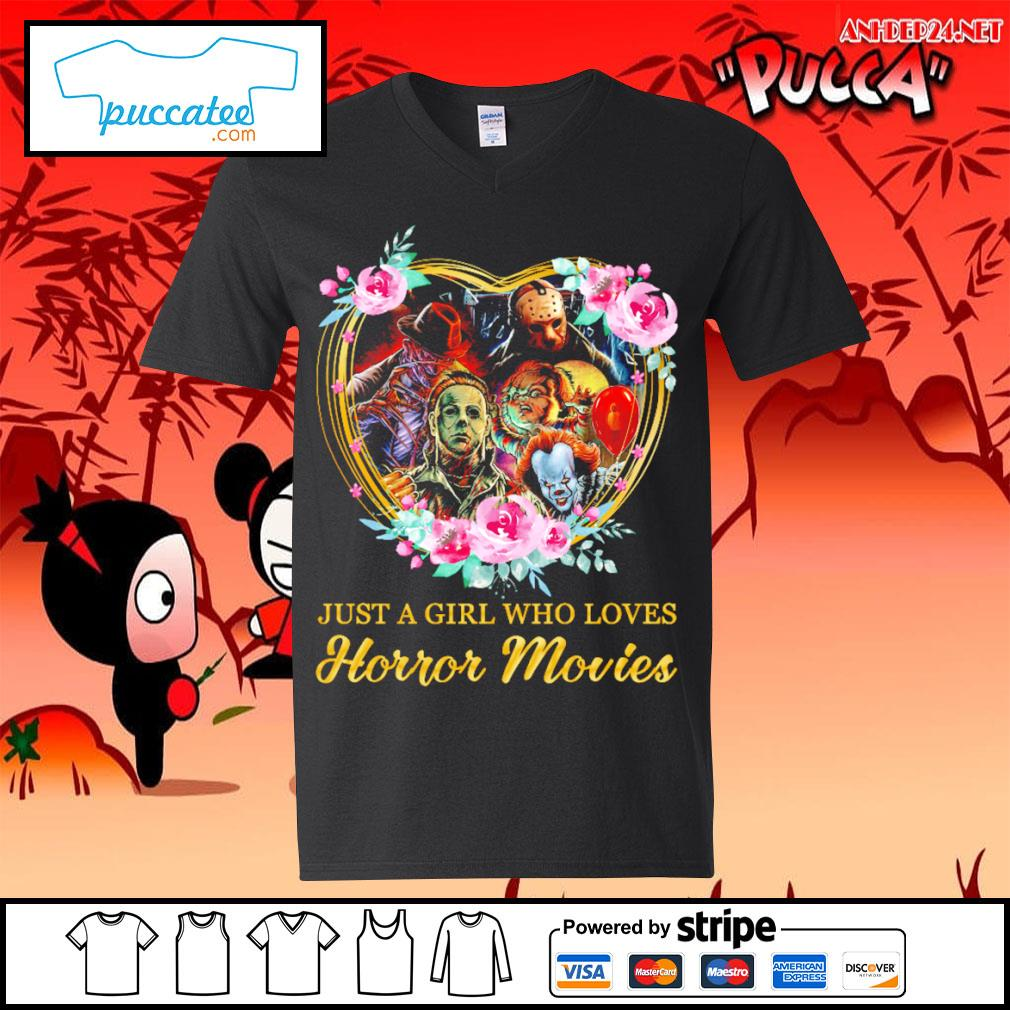 Halloween just a girl who loves horror movies flowers heart s v-neck-t-shirt.jpg