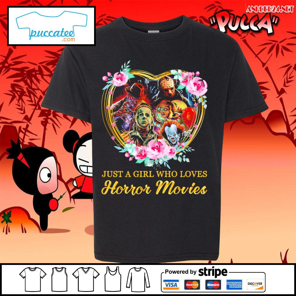 Halloween just a girl who loves horror movies flowers heart s youth-tee.jpg