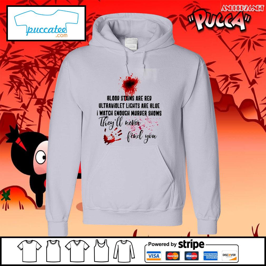 Hand print blood stains are red ultraviolet lights are blue I watch enough murder shows they'll never find you s hoodie.jpg