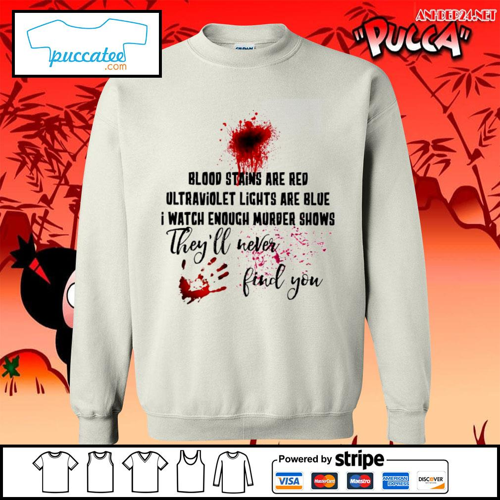 Hand print blood stains are red ultraviolet lights are blue I watch enough murder shows they'll never find you s sweater.jpg