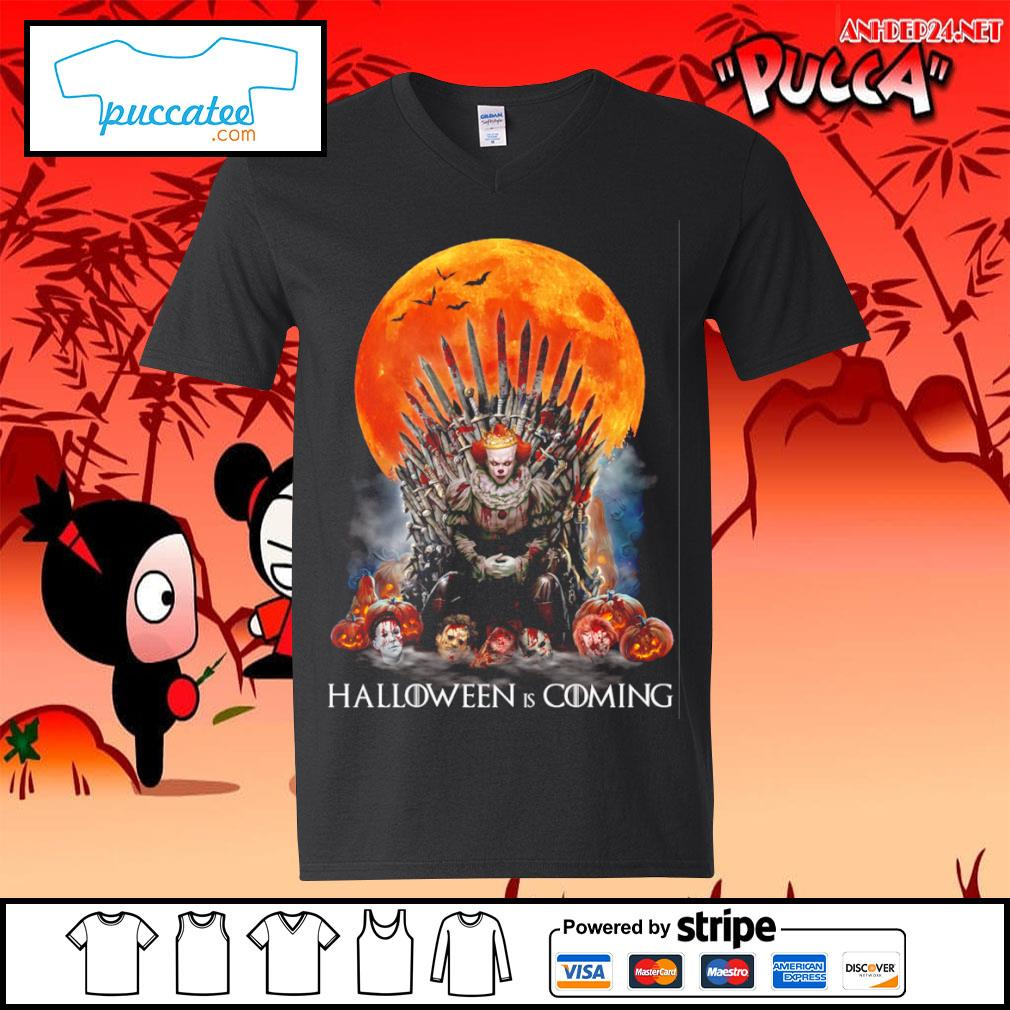 Pennywise Halloween is coming s v-neck-t-shirt.jpg