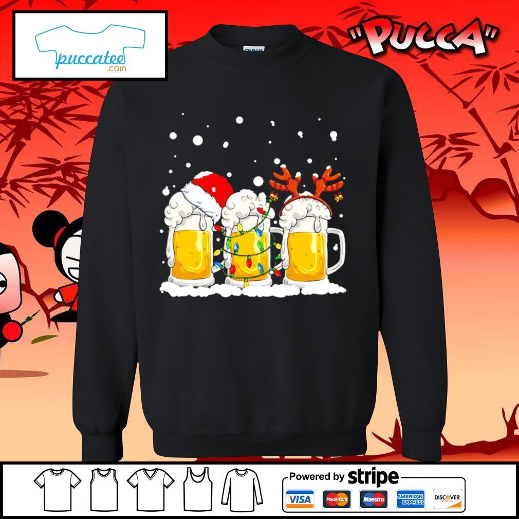 Beer Santa hat and Reindeer Christmas s sweater