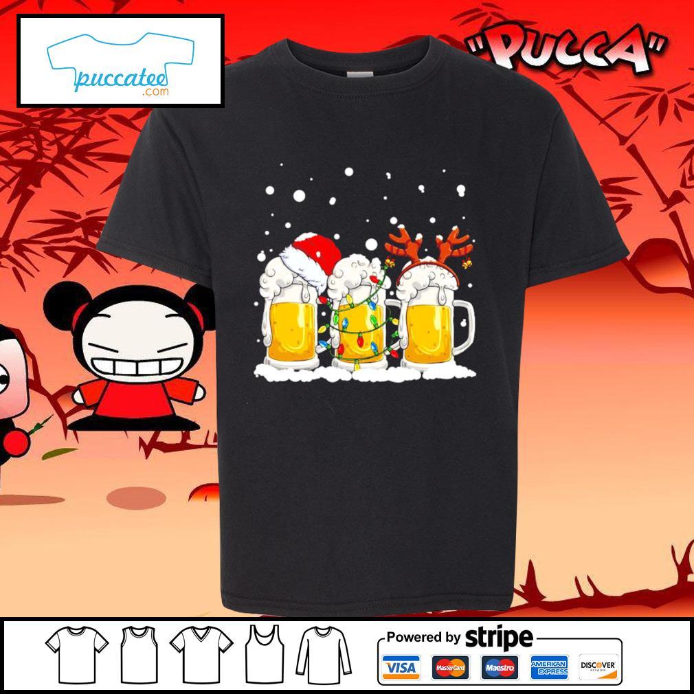Beer Santa hat and Reindeer Christmas s youth-tee