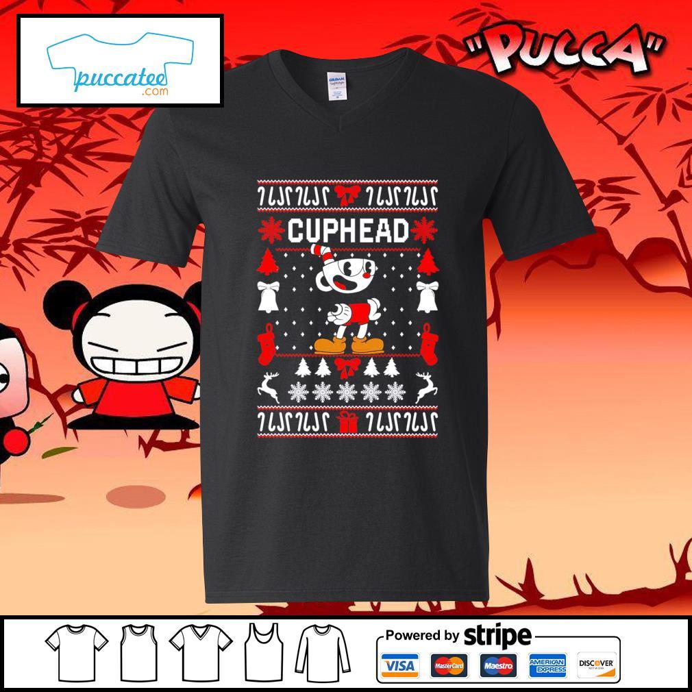 Cuphead ugly Christmas s v-neck-t-shirt