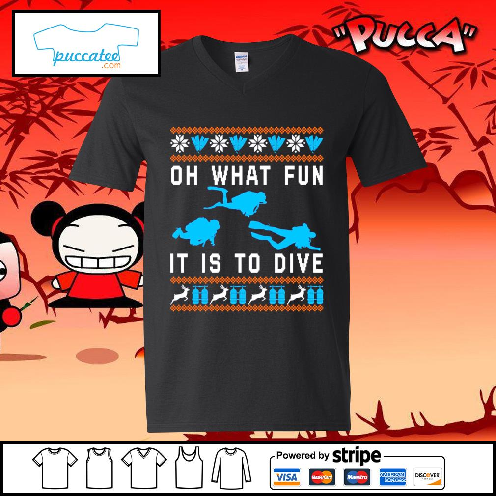 Oh what fun it is to dive ugly Christmas s v-neck-t-shirt
