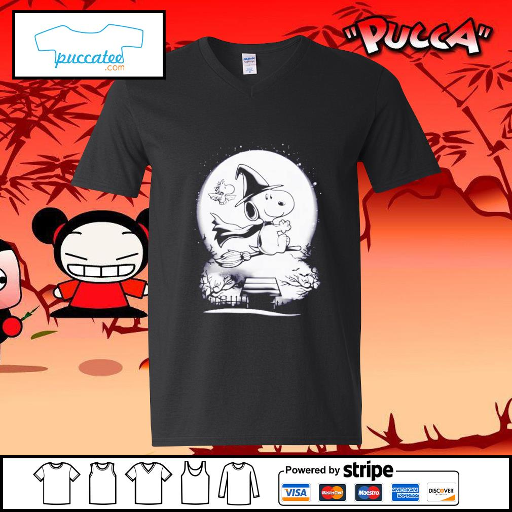 Peanuts Snoopy witch and Woodstock Halloween s v-neck-t-shirt