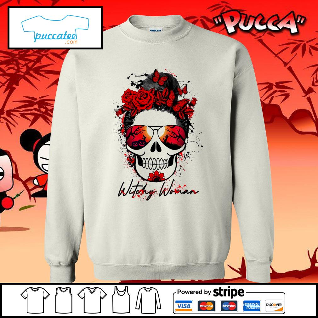 Witchy woman scary skull Halloween s sweater