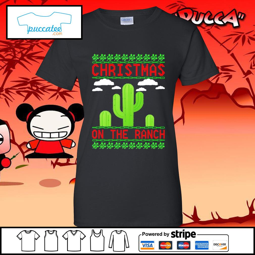 Cactus Christmas on the ranch ugly s ladies-tee