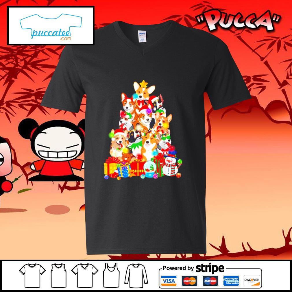 Funny Corgi Christmas tree s v-neck-t-shirt