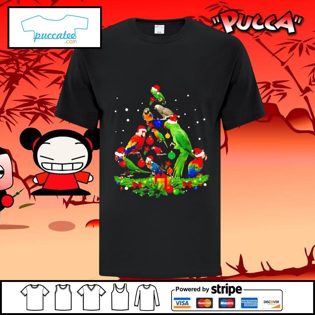 Parrots Christmas ornament tree Merry Christmas shirt
