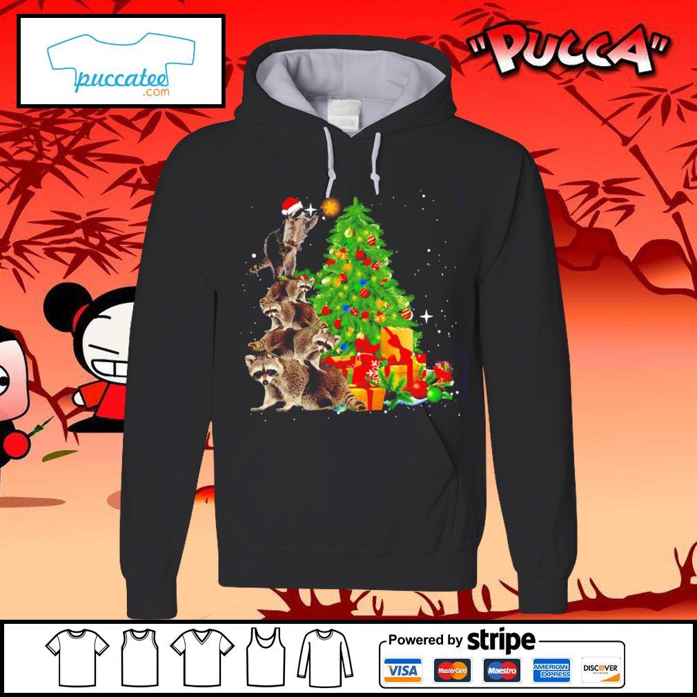 Raccoon Christmas tree lights Merry Christmas s hoodie