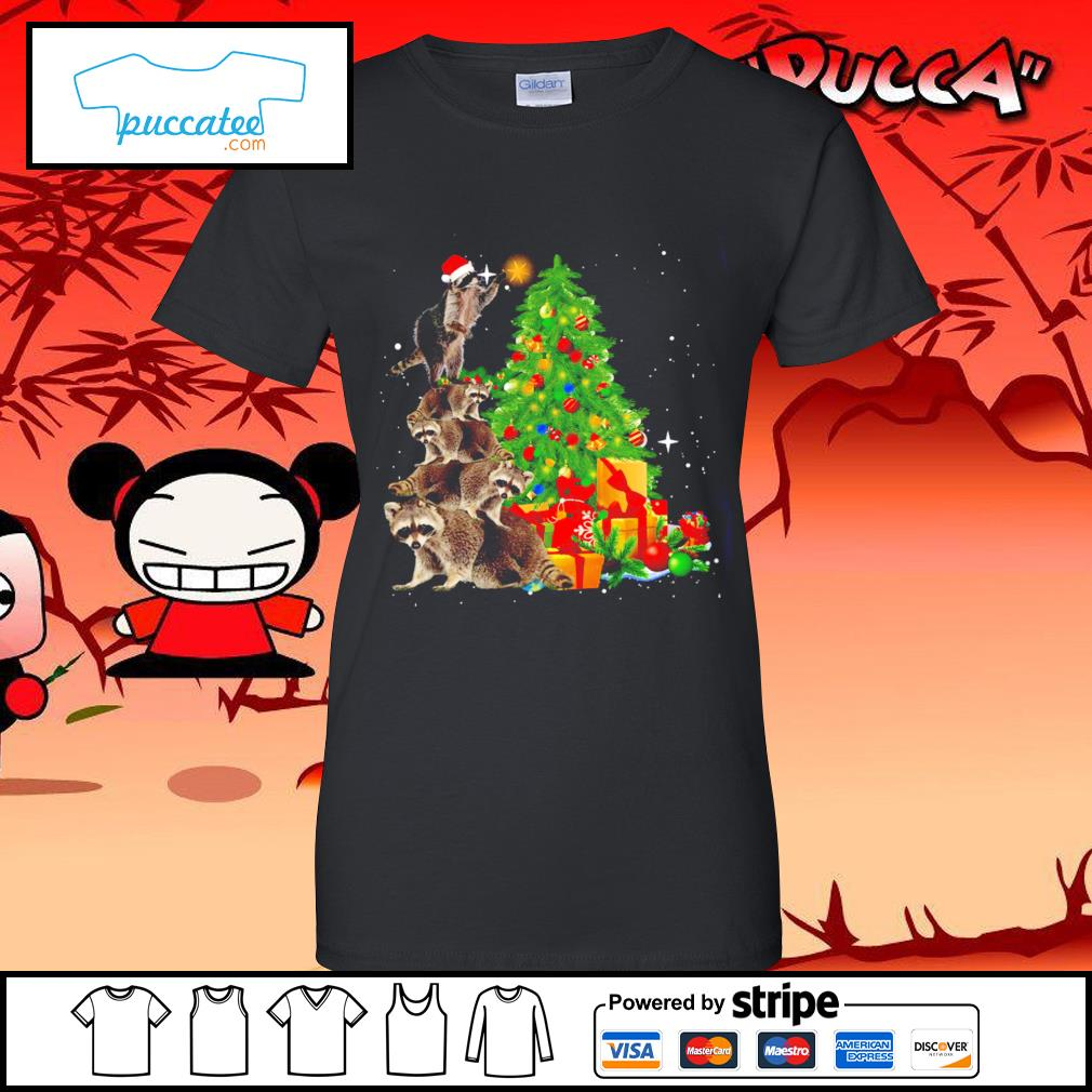 Raccoon Christmas tree lights Merry Christmas s ladies-tee