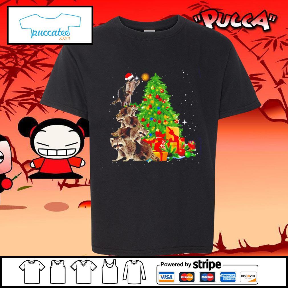 Raccoon Christmas tree lights Merry Christmas s youth-tee