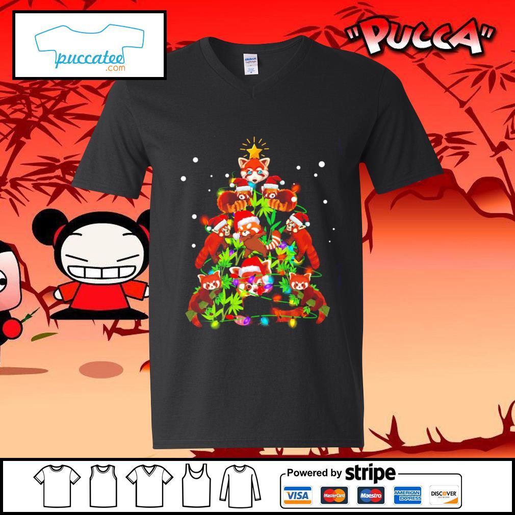 Red Panda Christmas ornament tree Merry Christmas s v-neck-t-shirt