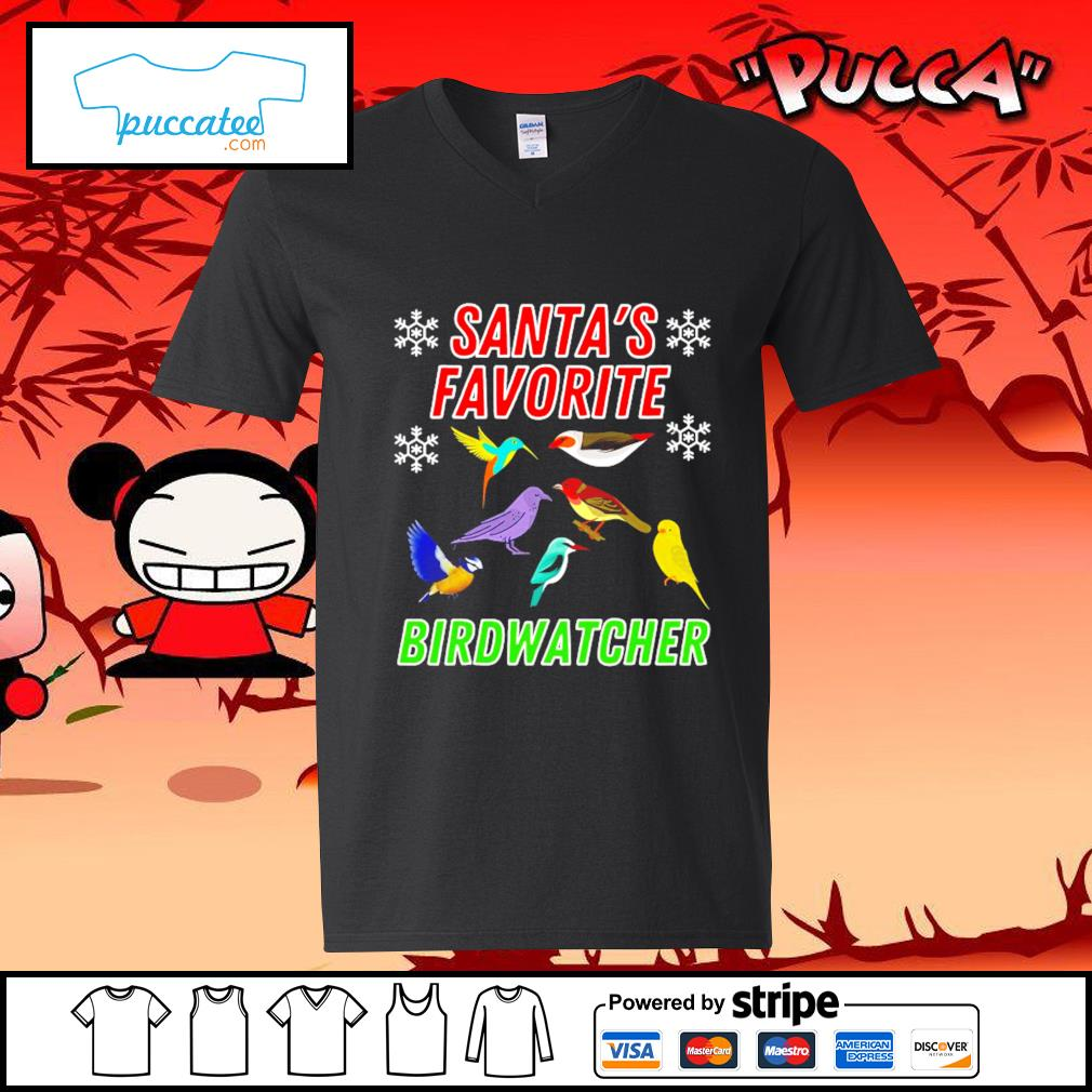 Santa's favorite Birdwatcher cute bird Christmas s v-neck-t-shirt